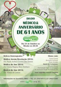 Anúncio de aniversário AMNI de 61 anos e Dia do médico